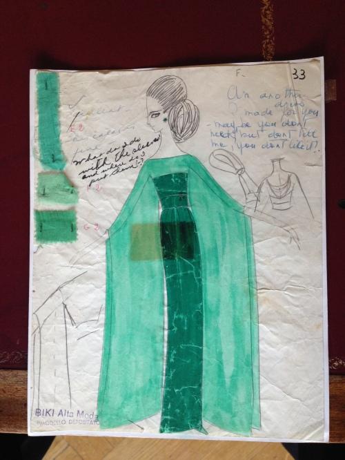 03_Bozzetto originale di BIKI (Alain Reynaud) per l'abito da concerto indossato da Maria Callas ad Amburgo il 25 ottobre 1973
