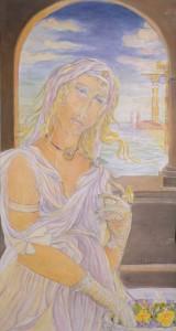 Anna Galanga, Il dono, acquerello, cm. 60x70